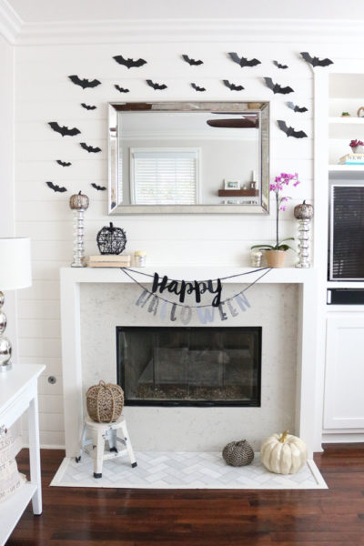 Chic Black and White Halloween Mantel
