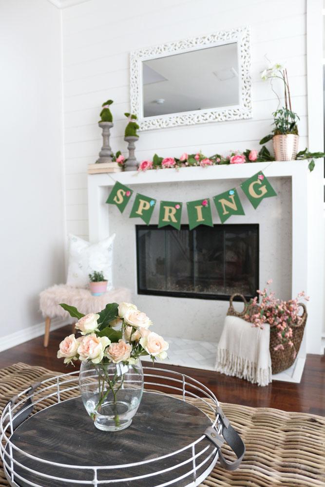 Pretty Spring Floral Mantel
