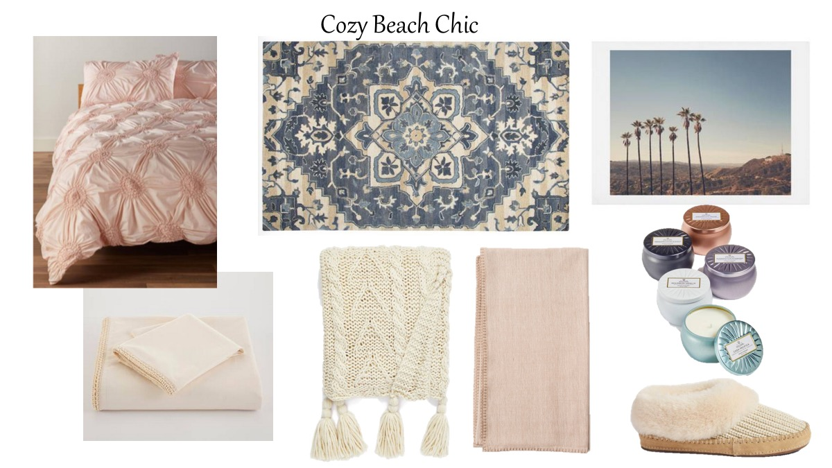 i was drawn to all the blush pink shocker i know lol and navy blue cozy calming and a little touch of the beach with that pretty palm tree print - Home Decor For Sale