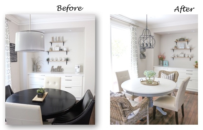 Modern   Farmhouse   Coastal   Dining Room Update   1111 Light Lane Before  After