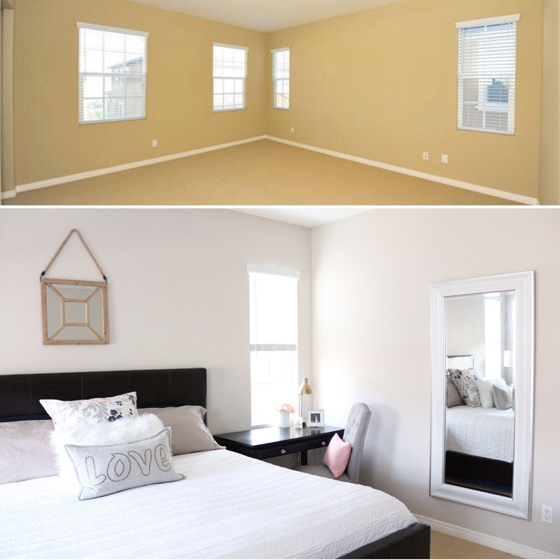 Neutral Master Bedroom Before And After Grey 1111 Light