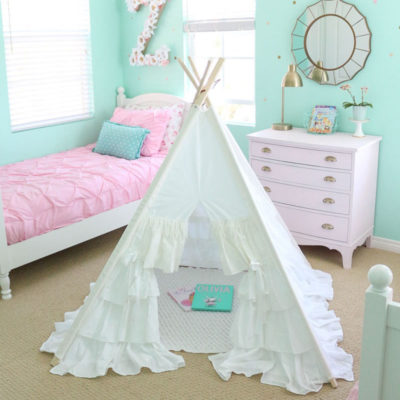 Adding Whimsy with a Girly Vintage Teepee