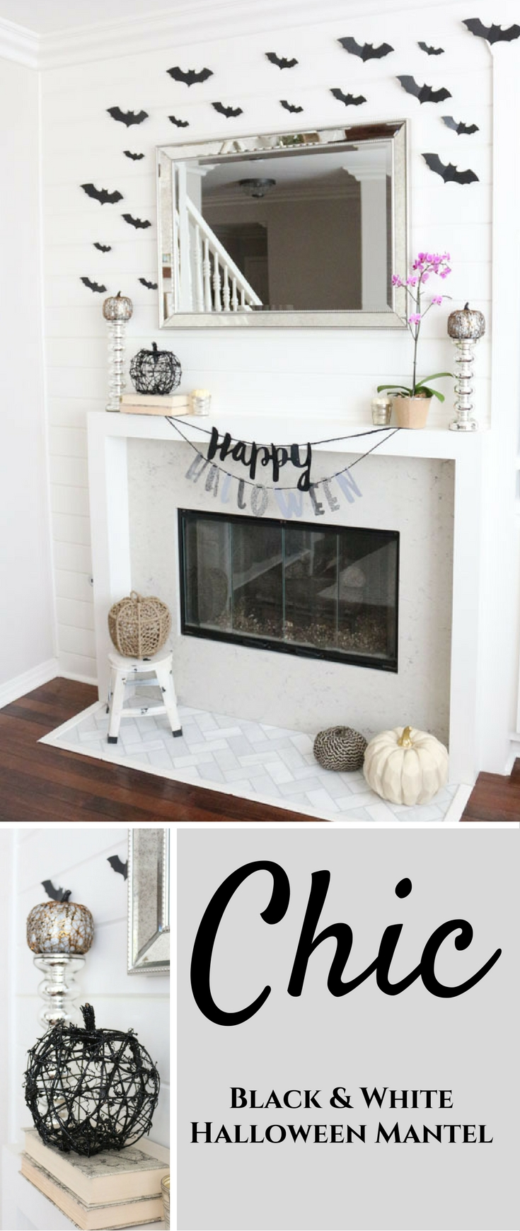 black-and-white-halloween-mantel