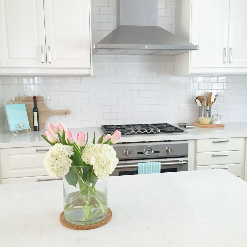 White Ikea Modern Farmhouse Style Kitchen Tulips Hydrangeas