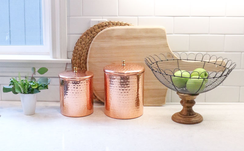 Copper Canisters White Subway Tile White Modern Farmhouse