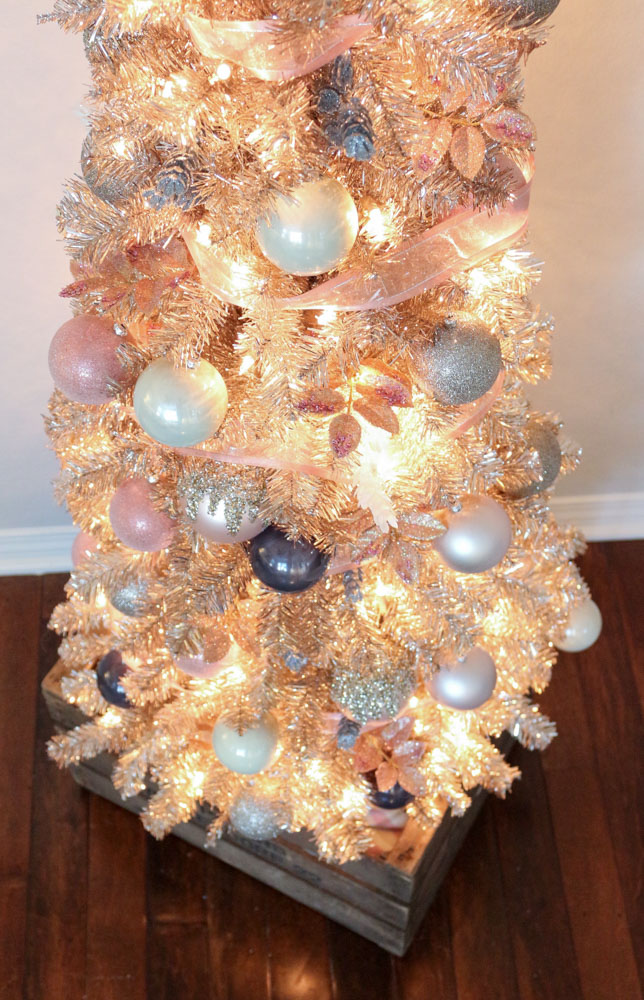 Decking the halls with a rose gold christmas tree for Blue gold and white christmas tree