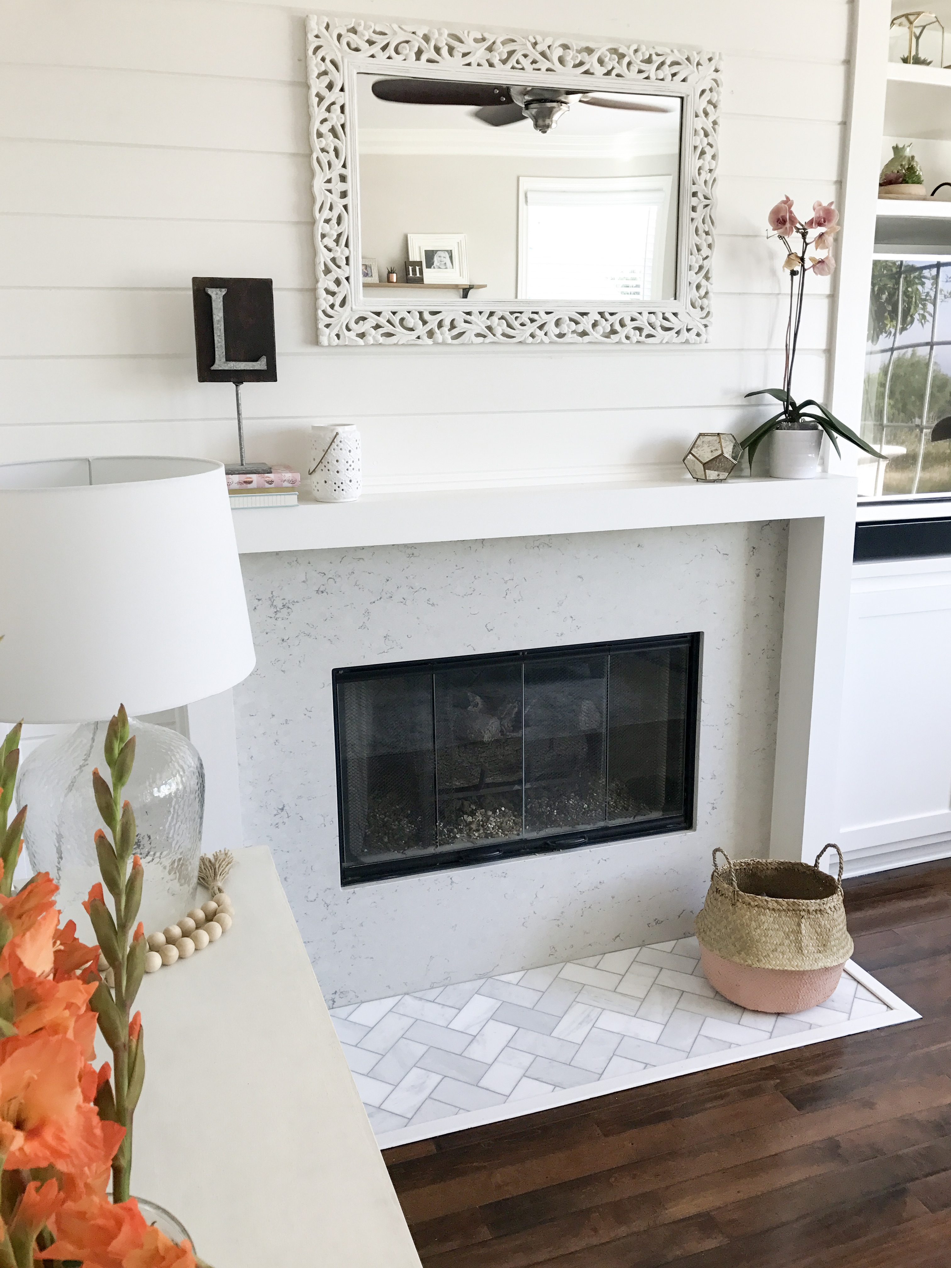 I Love The Sleek Modern Element To Mantel And Shiplap Wall Adds A Farmhouse Touch You Can See How Ive Styled Our Throughout Year By