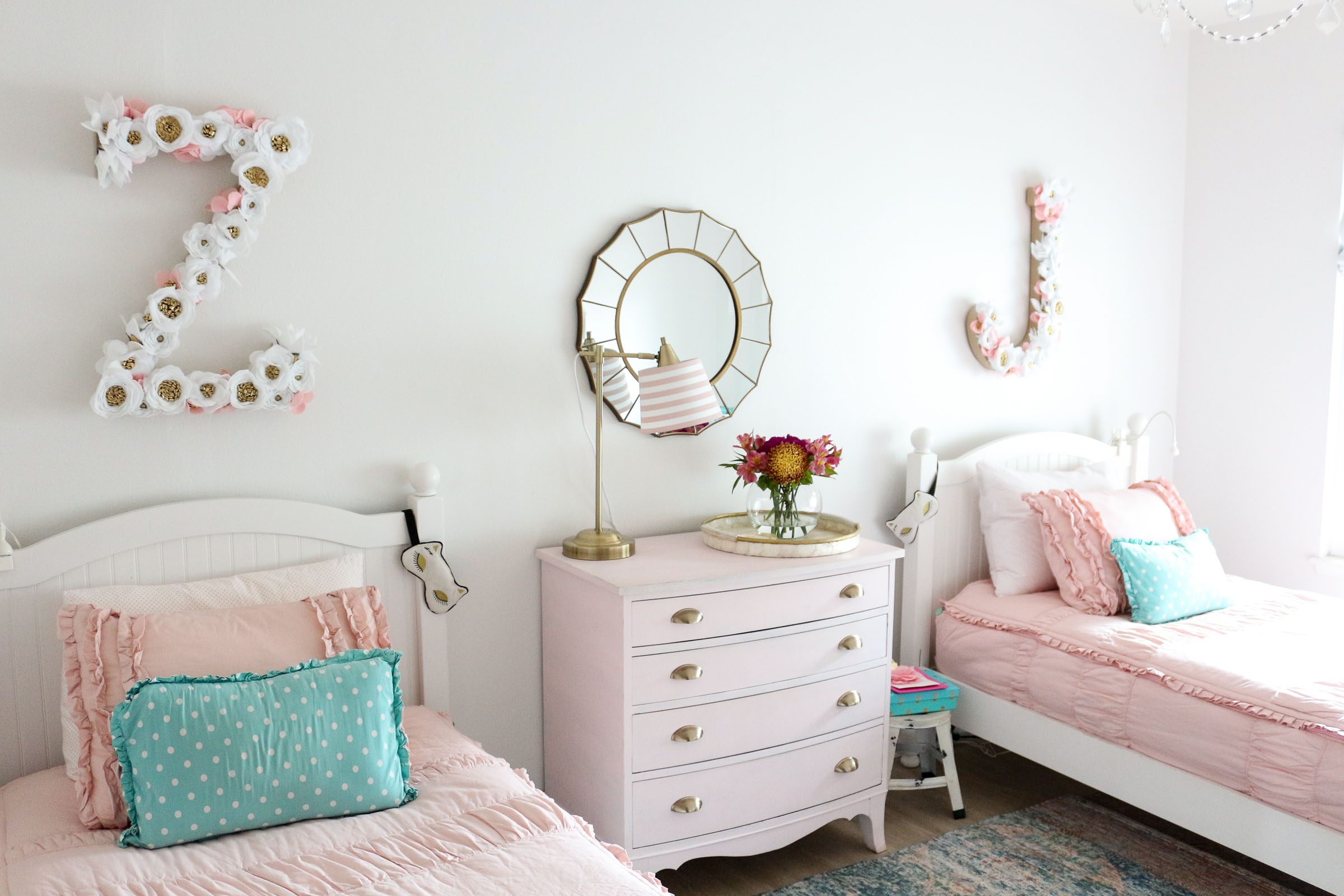 Girls Shared Bedroom Why We Love Our Blush Pink Ruffle