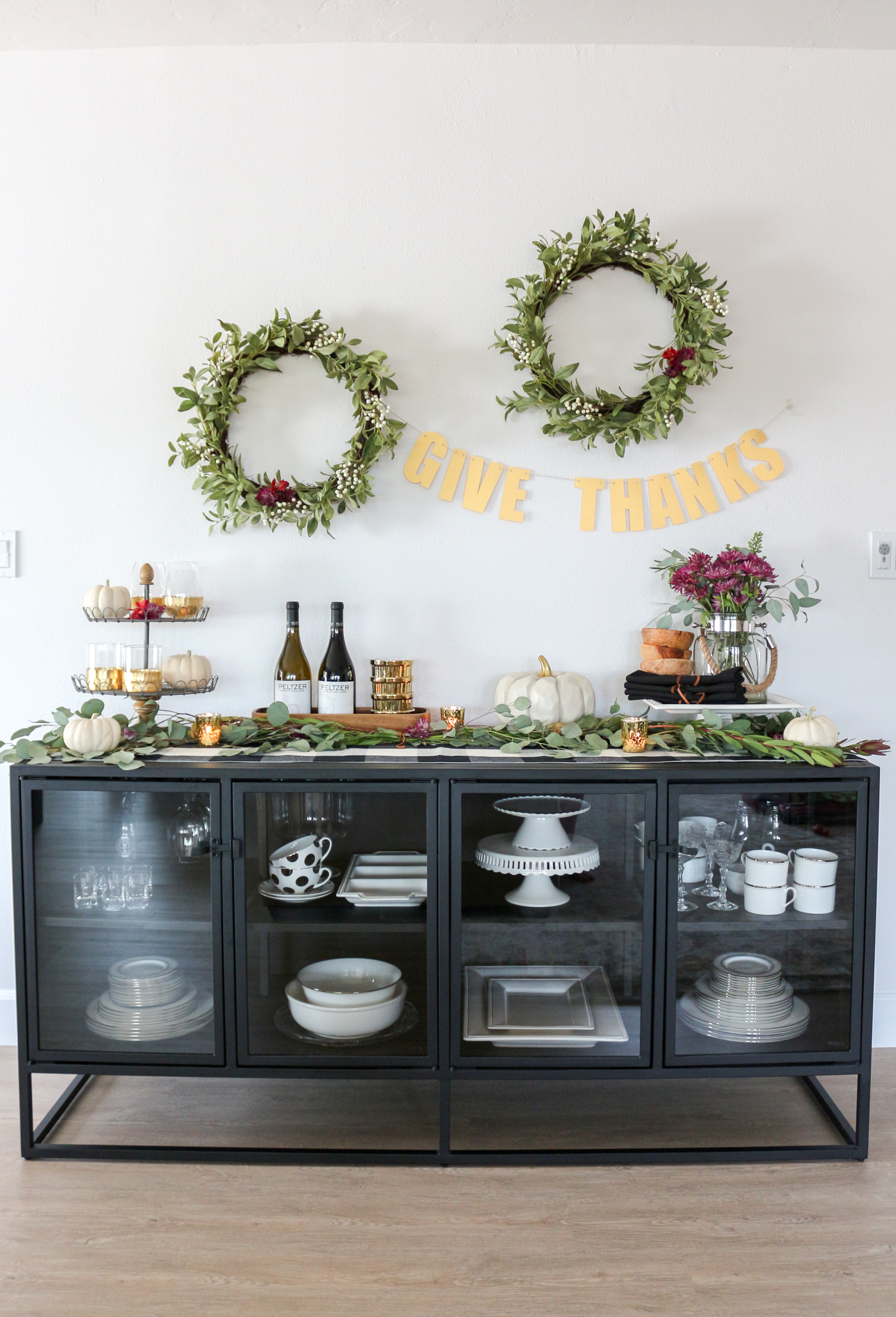 Thanksgiving Sideboard Decor Entertaining Ideas