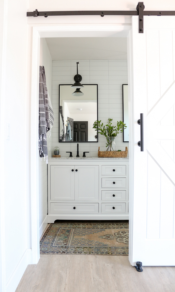 Modern Farmhouse Master Bathroom Renovation with Delta ... on Modern Farmhouse Shower  id=97866