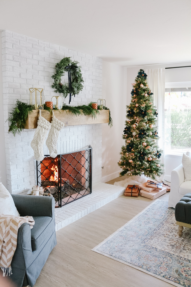 Modern Farmhouse Christmas Living Room with Navy Copper
