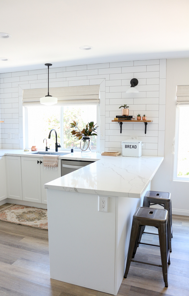 astounding kitchen lighting before after | White Semihandmade Kitchen Renovation: Before + After ...