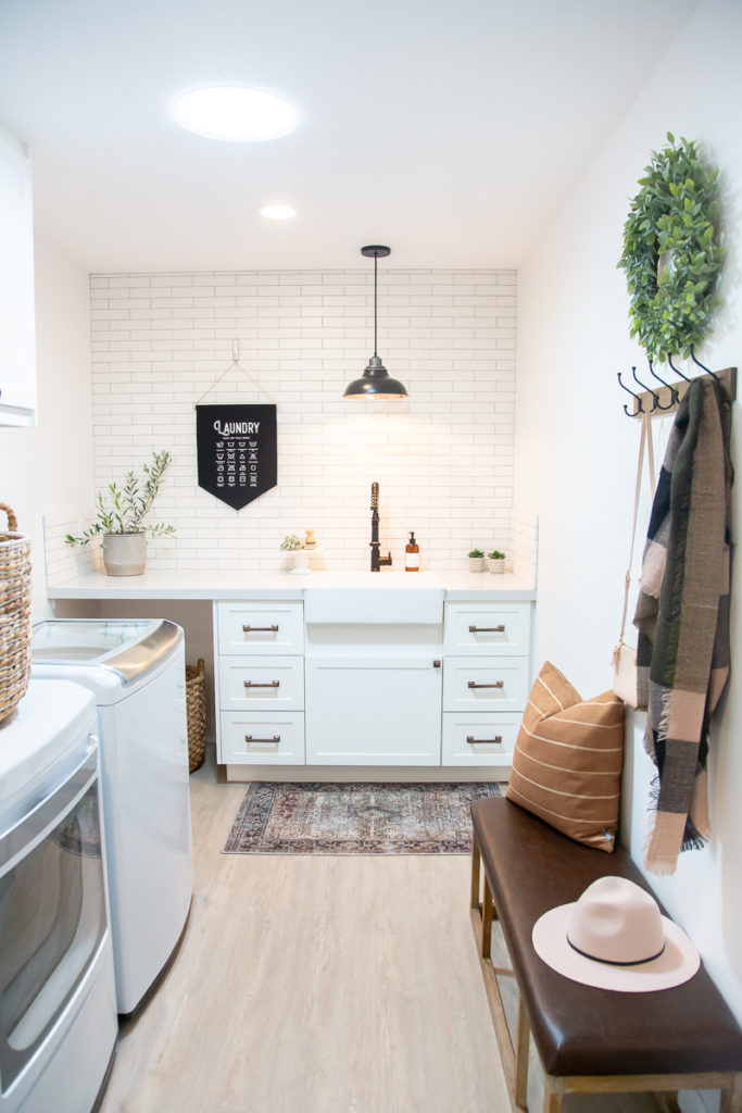 White Modern Farmhouse Laundry Room Mudroom With Semihandmade 1111 Light Lane